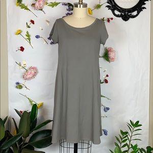 Eileen Fisher organic cotton grey t-shirt dress